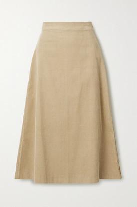 ARoss Girl x Soler Alma Cotton-corduroy Midi Skirt - Sand