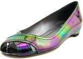 Stuart Weitzman Exflat Women US 6 Black Peep Toe Flats