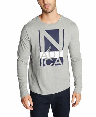 Nautica Men's Logo Long Sleeve Jersey T-Shirt