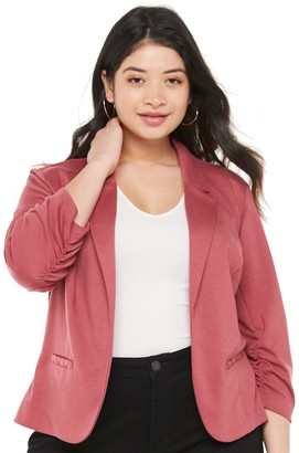 Candies Plus Candie's Ruched Sleeve Knit Blazer