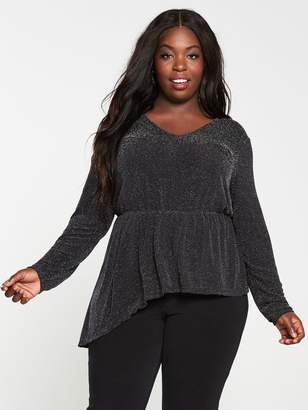 V By Very Curve Lurex Glitter Ruffle Long Sleeve Top - Black