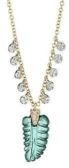 Meira T Women's 14K Yellow Gold, Quartz & Diamond Leaf Pendant Necklace