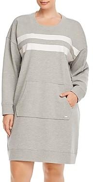 Andrew Marc Plus Performance Plus Striped Sweatshirt Dress