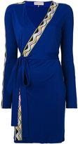 Emilio Pucci striped detail wrapped dress - women - Silk/Viscose - 42