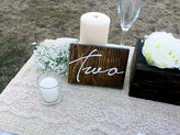 Etsy Wedding Double Sided Table Numbers, Cursive Wooden Table Numbers, Rustic Table numbers, Wood Table N