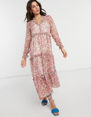 Neon Rose oversized maxi smock dress with tiered skirt in ditsy floral