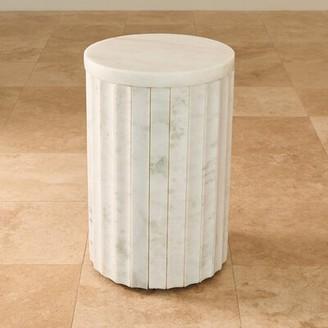 Global Views Marble Column End Table