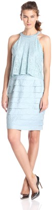 London Times Women's Lace Pop Out Blouson Dress with Shutter Skirt