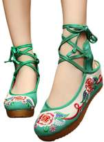 AvaCostume Womens Embroidery Wedges Sling Back Ankle Straps Dress Shoes, 37
