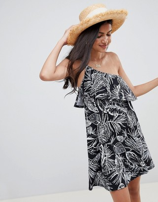 Asos DESIGN one shoulder sundress with ruffle in black palm print