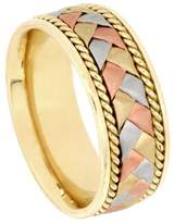 American Set Co. Men's Tri-color 14k White Yellow Rose Gold Braided 8.5mm Comfort Fit Wedding Band Ring size 7.5