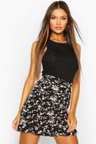 boohoo Floral Pleated Ruffle Mini Skirt