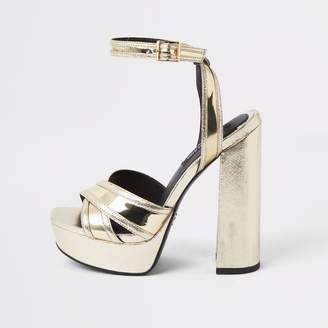 River Island Womens Gold metallic cross strap platform heels