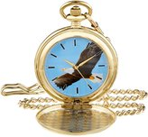 EWatchFactory Men's 'EW Eagle Pkt' Quartz Metal Pocket Watch, Color:Blue (Model: PW00071)