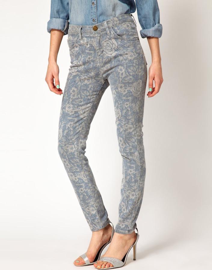 Current/Elliott High Waist Floral Skinny Jeans