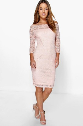 boohoo Petite Lace Bardot Midi Dress