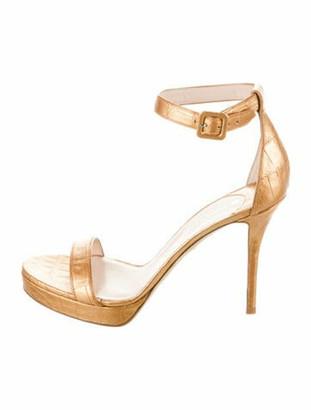 Nancy Gonzalez Tina Crocodile Ankle Strap Sandals Gold