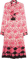 Gucci Pussy-bow Pleated Printed Silk Crepe De Chine Dress - Pink