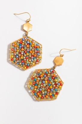 francesca's Eloise Beaded Hexagon Drop Earrings - Multi
