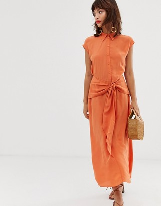 And other stories & waist knot midi dress in orange-Red