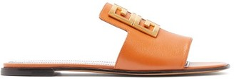 Givenchy 4g-logo Leather Slides - Womens - Tan