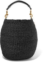 Clare Vivier Pot De Miel Leather-trimmed Woven Abaca Straw Tote - Black