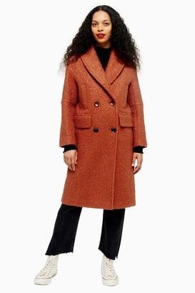 Topshop Womens Petite Rust Boucle Coat - Rust