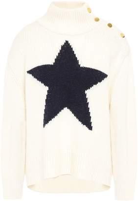 Kate Spade Button-detailed Intarsia-knit Turtleneck Sweater