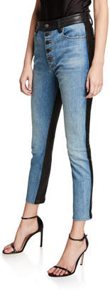 Alice + Olivia JEANS Good Leather-Back High-Rise Button-Front Jeans