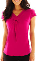 Liz Claiborne Short-Sleeve V-Neck Top