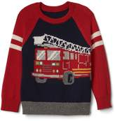 Gap Intarsia fire truck raglan sweater