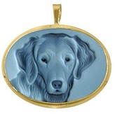 Dog Agate Stone Cameo Pendant / Pin