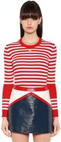 Courreges Striped Stretch Cotton Rib Knit Sweater