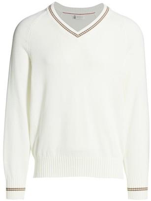 Brunello Cucinelli Tipping V-Neck Sweater