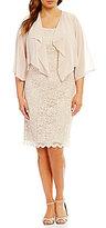 Jessica Howard Plus Chiffon Lace 2-Piece Jacket Dress