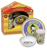 Gibson Snoopy Happy Camper 3 Piece Kid's Dinnerware Set