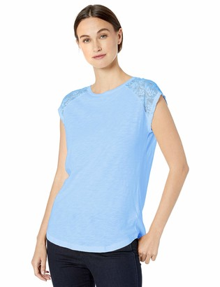 Chaps Women's Lace Panel Cotton Tee