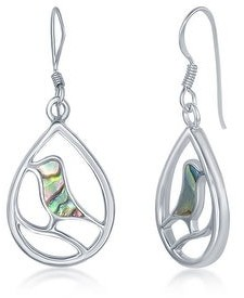 La Preciosa Nature Bird Abalone Shell/Mother of Pearl Sterling Silver Pear-Shaped Dangling Earrings