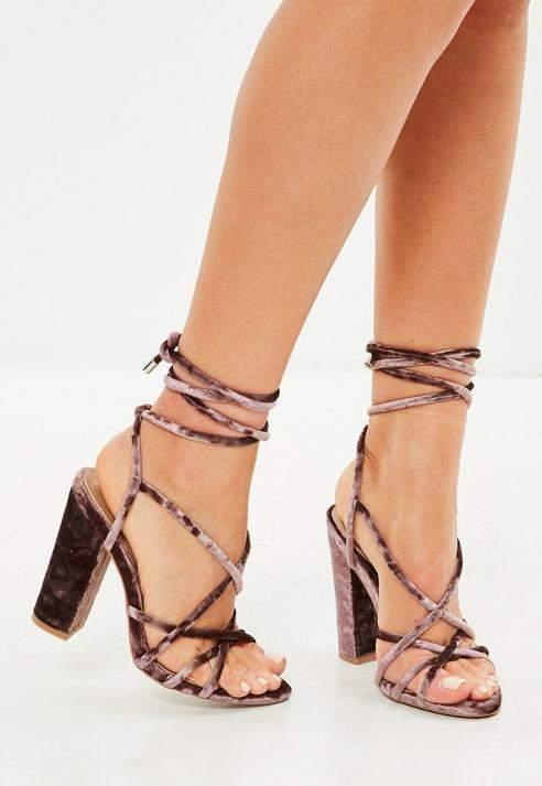 Missguided Brown Velvet Block Heeled Gladiator Sandals