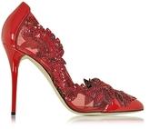 Oscar de la Renta Alyssa Poppy Red Mesh and Patent Leather Pump