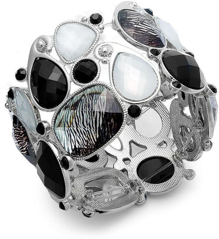 Style&Co. Silver-Tone Animal Black and White Stretch Bracelet