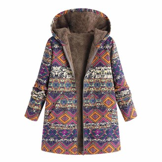 KaloryWee 2018 Sale Clearance Womens Winter Warm Outwear Floral Print Hooded Pockets Vintage Oversize Coats Hot Pink
