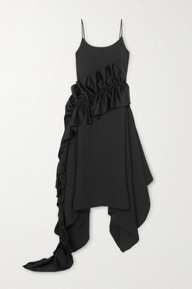 Christopher Kane Ruffled Satin-trimmed Crepe Dress - Black