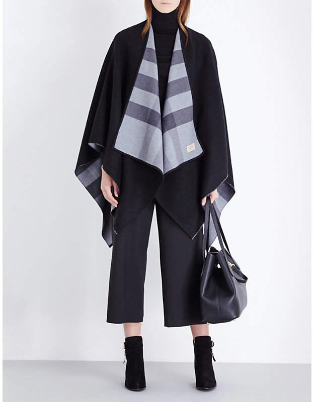 Burberry Ladies Grey Checked Check Reversible Wool Cape