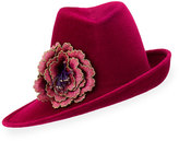 Philip Treacy Sidesweep Fedora w/ Embroidered Flower