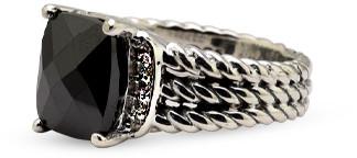 David Yurman Petite Wheaton Ring (Onyx and Diamonds) - Size 5.5