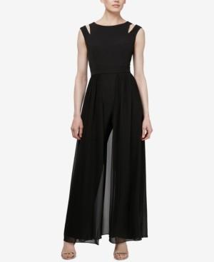 SL Fashions Cold-Shoulder Walkthrough Jumpsuit