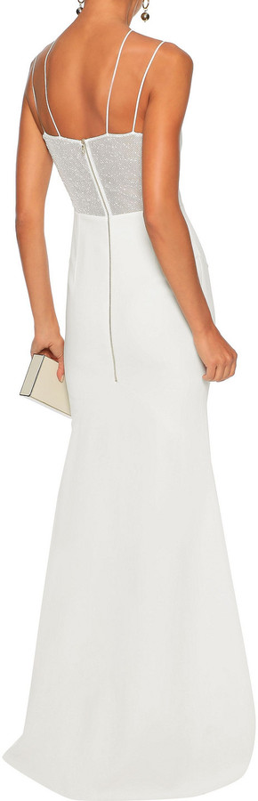 Thumbnail for your product : Roland Mouret Boucle Mesh-paneled Stretch-crepe Bridal Gown