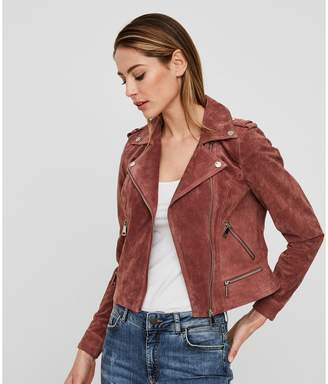 Vero Moda Short Suede Biker Jacket with Zip Fastening and Pockets