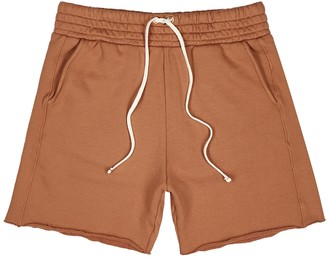LES TIEN Rust cotton-jersey shorts